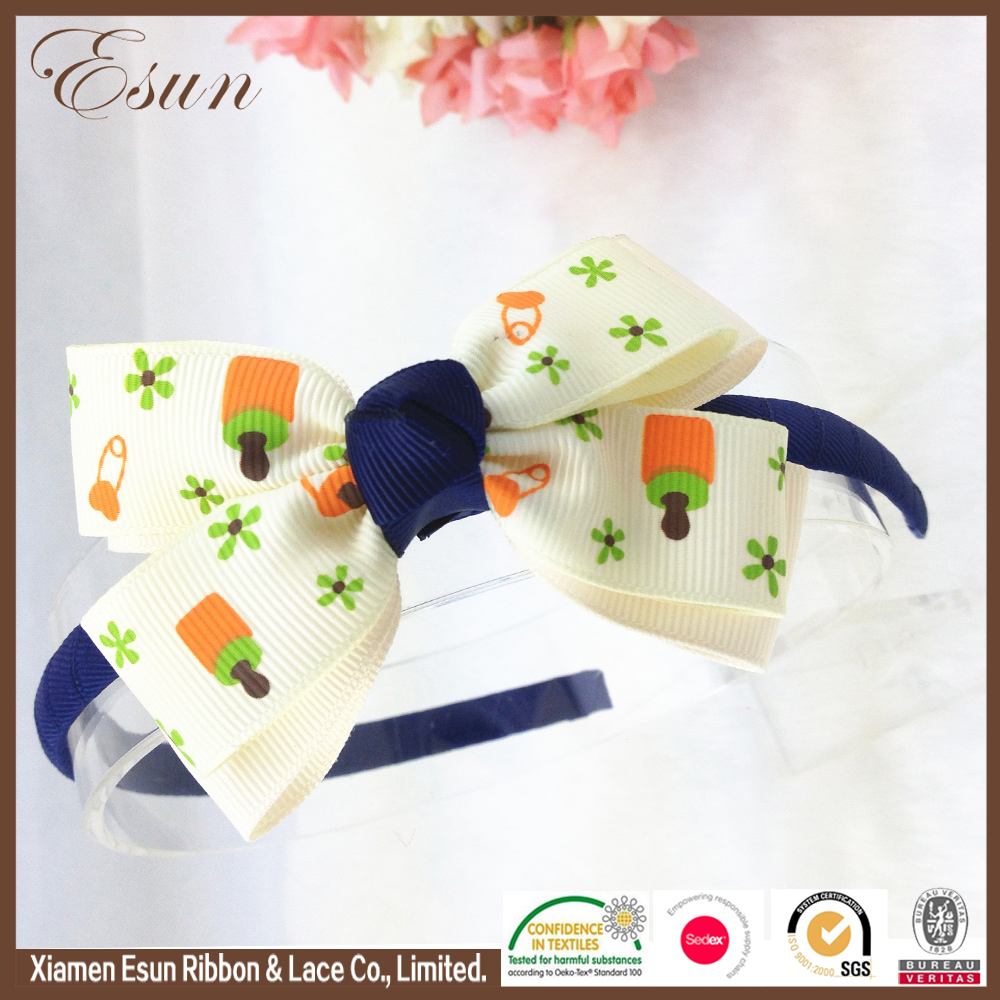 Ice cream folower printed baby headband wholesale over the top bows