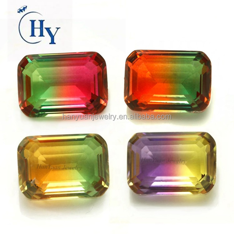 Newest rectangle step cut bicolor synthetic Watermelon Tourmaline