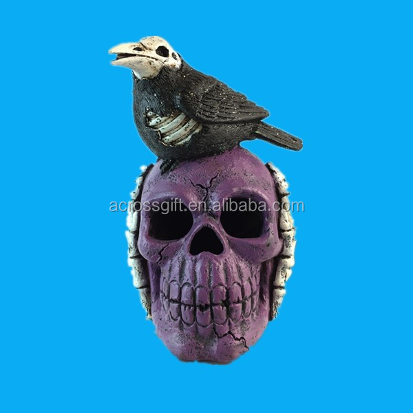 Hand painted halloween crafts resin bird skull craft for sale