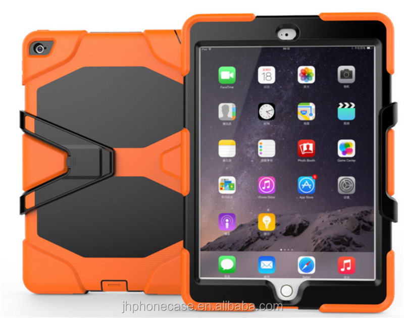 Heavy duty silicone armor detached stand shockproof case for iPad air 2 iPad 6 full cover screen