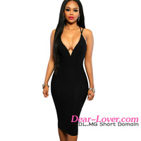 African Dress Styles 2016 Wholesale Laides Summer Cheap Black Sleeveless Midi Dress