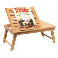 Compact Bamboo Lap Desk / Laptop Stand / Breakfast in Bed Tray / Lift-Up Panel & Adjustable Legs
