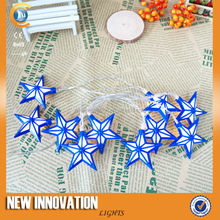 10L Warm White battery operated blue star led christmas light chain