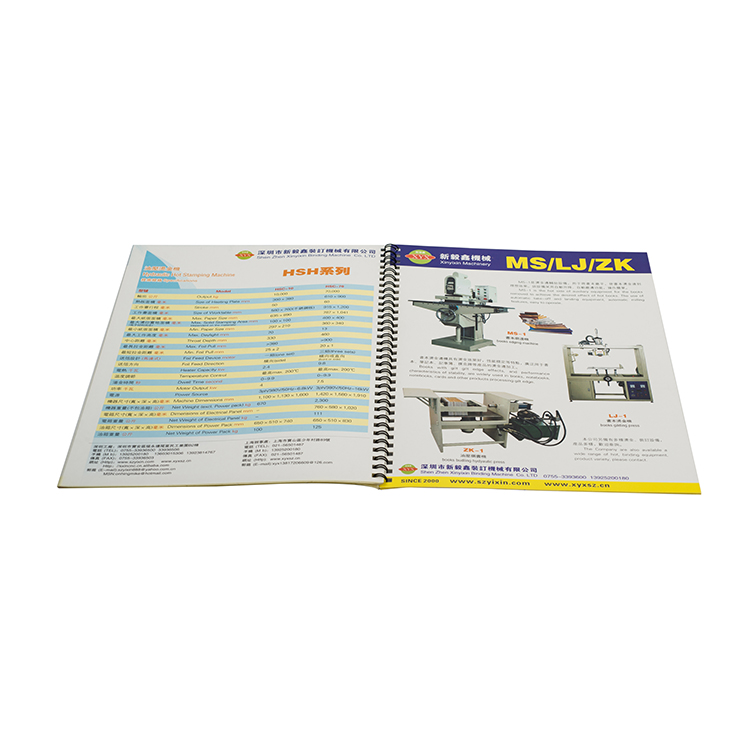 Low cost company information loop binding offset catalog printing
