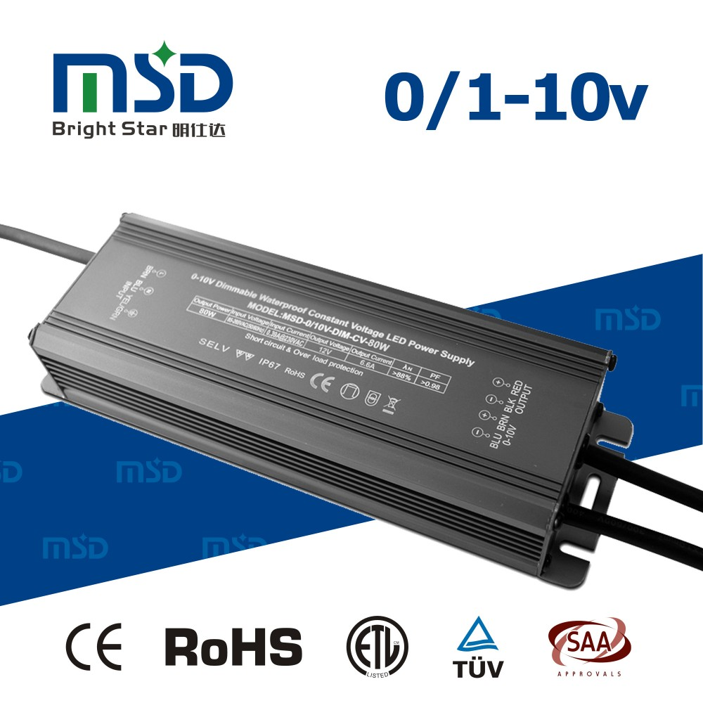 0/1-10V Dimmable Waterproof led driver IP67 80W 12V 6600mA AC85-265V