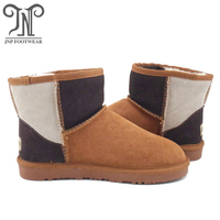 5854 Three colour ankle women sheepskin boot