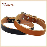 Strong Genuine personalized faux Cow Leather pet dog collar