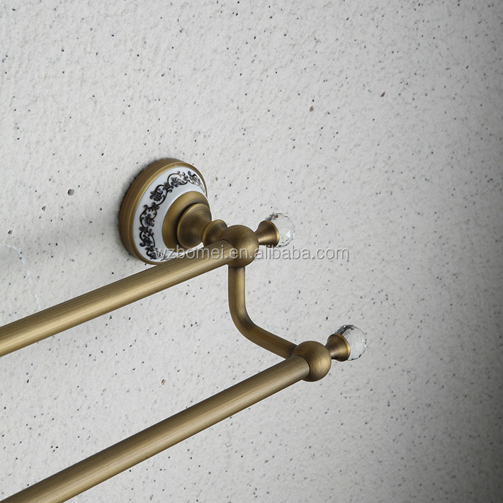 2016 new design bathroom brass ,ceramic double towel bar/ towel rod / towel rail accessories with crystal hook