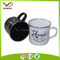 8/9/10cm white camping cup, high quality private label printed enamel mugs