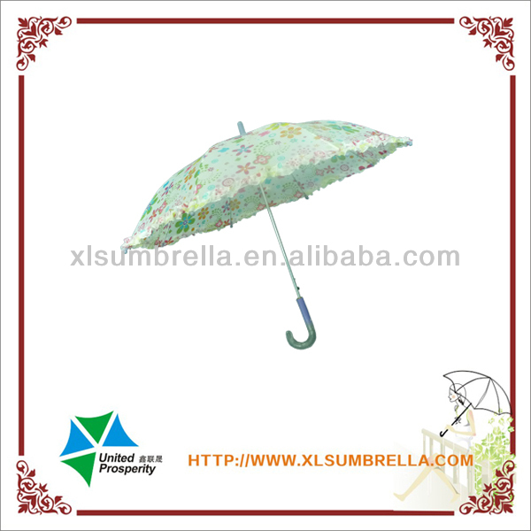 Flower printing lace kids transparent handle umbrella