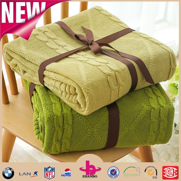 New arrival product! microfiber chenille jacquard fabric, home textile baby blanket fabric chunky knit throw cable knit blanket.