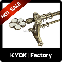 KYOK Beautiful flower curtain pole finial/curtain end, double heavy duty curtain rod bracket, twisted wrought iron curtain pipe