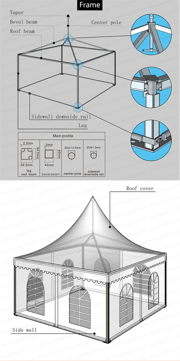 Custom design small pagoda tent for event