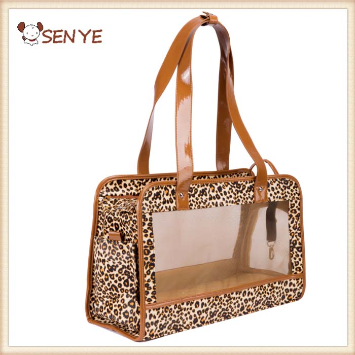 Storage Folding Foldable Pet Carrier Small Dog Caonal Leopard Design Externide Dog Carriers Walking Bag