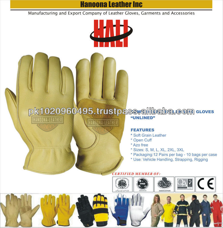 Natural color cow grain leather driver gloves working gloves | Beige colour Wells Lemont Styled electrician gloves