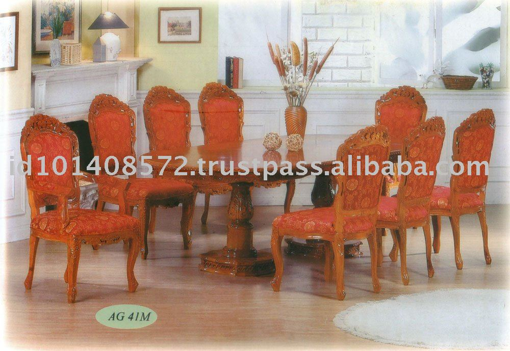 Teak Dining Set Classic Design High Carved Rose Indoor Furniture.