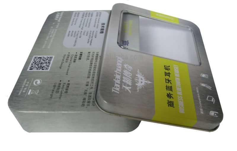 battery Tin Box,blue tooth headset with clear window
