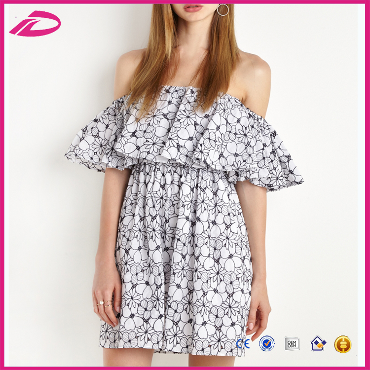 2017 Alibaba Women Summer Dress 2017 Sexy off- shoulder Boutique printing dress