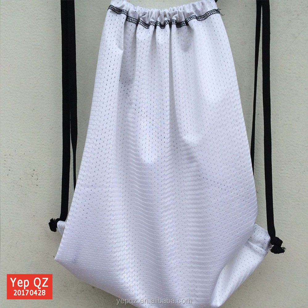 Promotional China online shop customized white color recycled wholesale drawstring mesh cinch bags