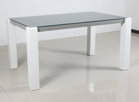 MDF Leg with high gloss painting glass top dining table