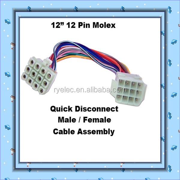 12 Pin 18AWG Wire Connector Harness with Color Coded Leads