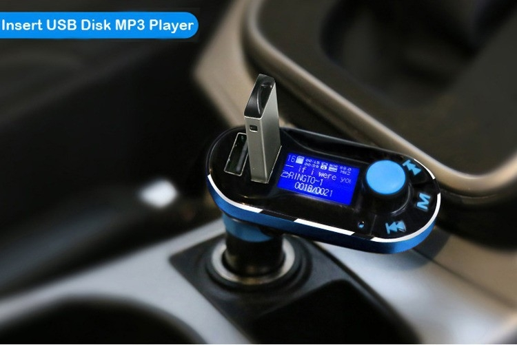 Bluetooth MP3 Player Hands free Car Kit + Dual USB Charger + FM Transmitter with USB MP3 LCD Car Charger BT66