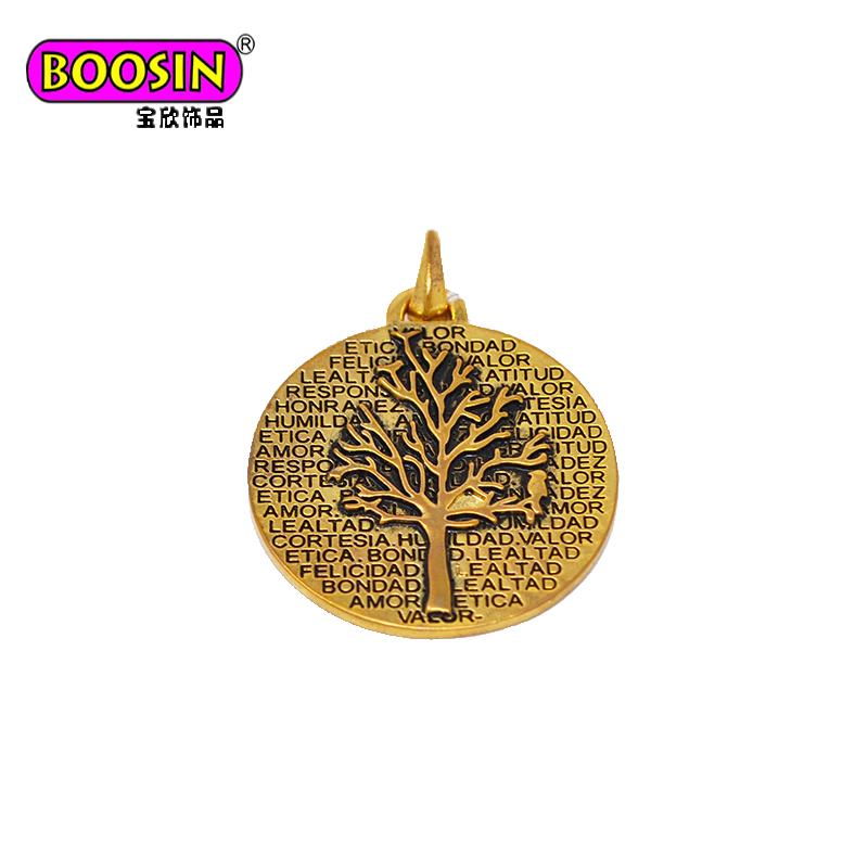 2017 Unique Round Tag Bodhi Tree Charm, Bodhi Buddha Mother Nature Peace charm