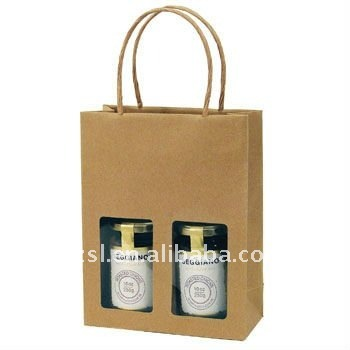 PWBSL011 recycled cheap jar craft paper bag for two bottle