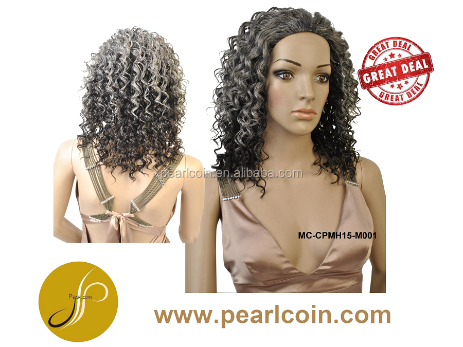 Grey Hair Medium Curly Two Tone Color High Temperature Fiber Wigs