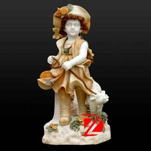 mixed color marble child stone sculpture