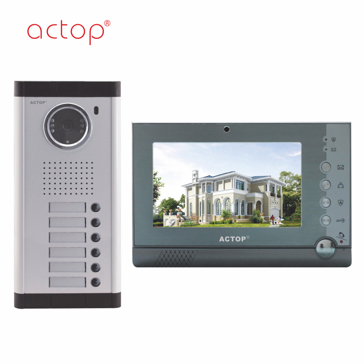 Shenzhen factory ACTOP 4 wire video door phone intercom system for 6 apartments