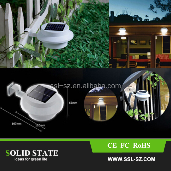 Outdoor proof 600mah Solar Powered Fence Gutter led Light Outdoor solar fence Light