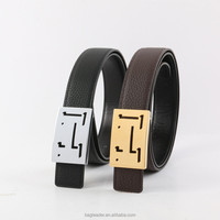 High Quality Mens Dress Leather Belt Plaque Buckle 3mm Width Pattern Leather Mens Belt guangzhou factory