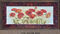 Beautiful flower painting with frame interior wall flower painting, poppy flower painting