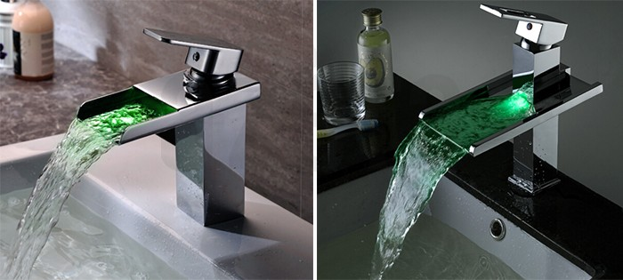 New Design Hot Cold Water Tap Brass Bathroom Single Lever LED Light Wash Basin Mixer