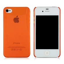 Hard Plastic Clear Case For iPhone 4 4G Orange