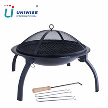 Portable Folding Round Charcoal BBQ Brazier Fire Pit with Lid for Outdoor