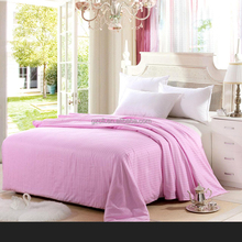 Hot sale poly cotton pink satin stripe bedding set luxury for theme hotel