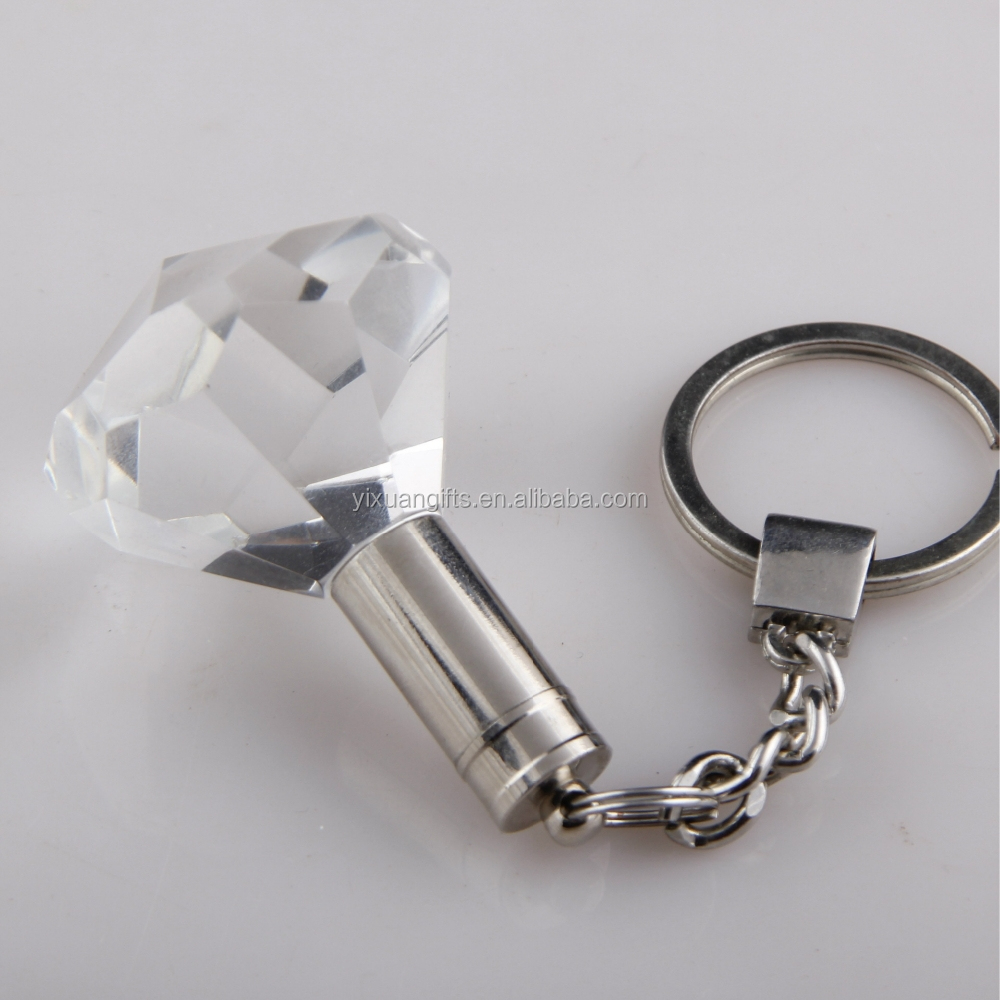 Quality diamond shaped logo Led Flashing Light Crystal crystal keychain for promotion on sale