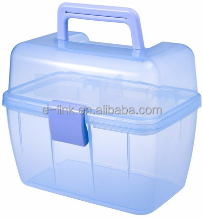 Craft Storage Box with Tray and Carrying Handle Plastic Case