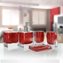 Hot selling polyresin clear bathroom sets bathroom sets accessory for home hotel bath gfit