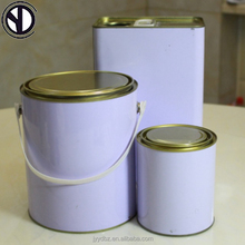 SGS wholesale 4 Liter 1 gallon mini empty round metal food grade paint tin/tinplate cans with lid and handle for paint glue