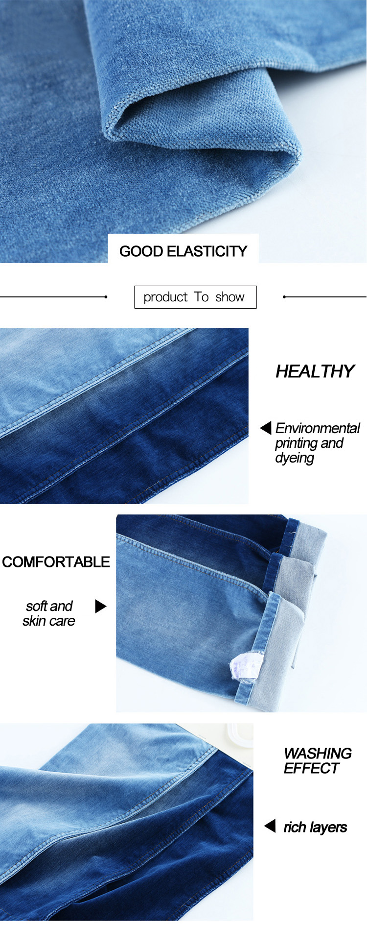 9oz heavy weight Spandex/Cotton fake knited denim fabric with good stretch