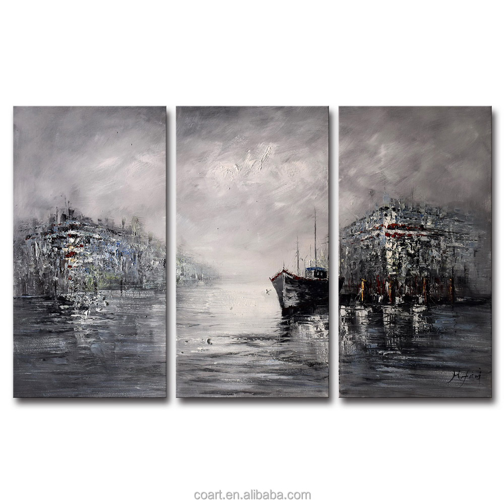 Abstract Black and White Living Room Interior Wall Art Paintings