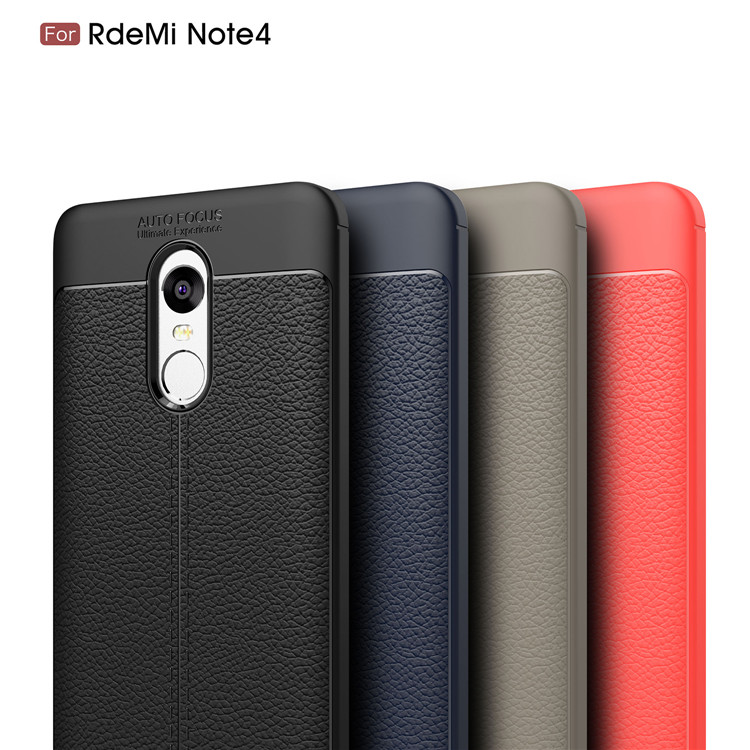 Luxury leather design mobile phone protective TPU cover case for Redmi Note 4