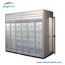 Supermarket display cold rooms, glass door cold rooms for showcase