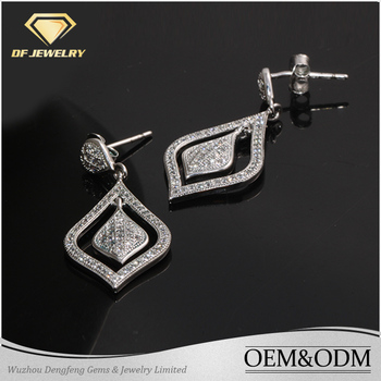 2017 New Design Hot Sale Fashion Lady Jewelry 925 Sterling Silver Dangle Diamond Shape Charm Stud Earring