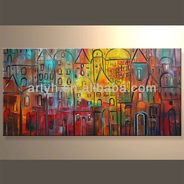 Popular Handmade Decorative Abstract Cityscape Canvas Art for Decoration Home