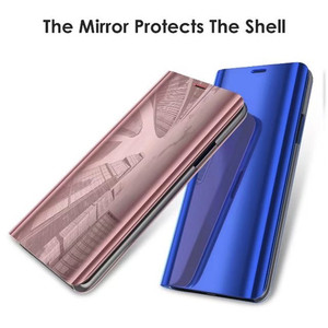 Clear Standing Flip Case Cover Translucent Mirror Smart Cover Luxury Plating Ultra Slim Fit Case For Samsung Galaxy S8 Plus 2144