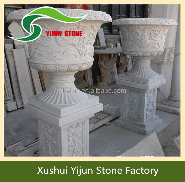High Quality White Marble Garden Decorative Product Granite Stone Flower Pot
